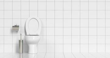 Geputzte saubere Toilette im WC mit weißen Fliesen